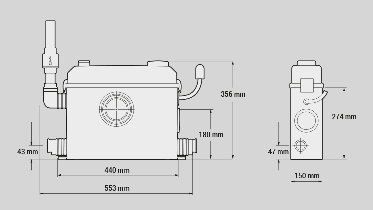 Zenit nanoBOX Series lifting station manual dimensions